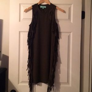 Karlie fringe dress. Never worn. Hunter green.